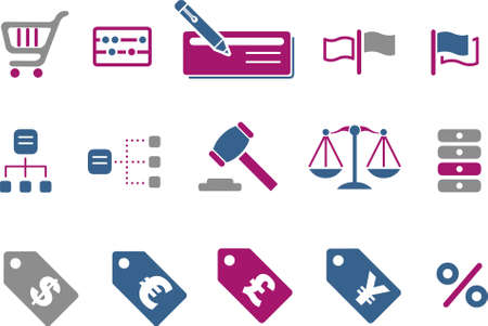 per cent: Vector icons pack - Blue-Fuchsia Series, money collection