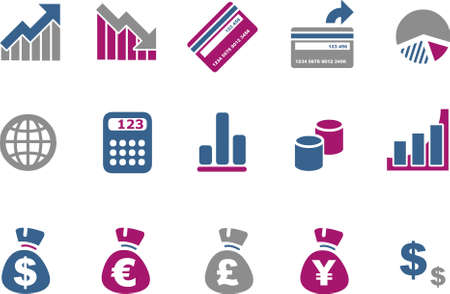 Vector icons pack - Blue-Fuchsia Series, money collection Stock Vector - 5057616