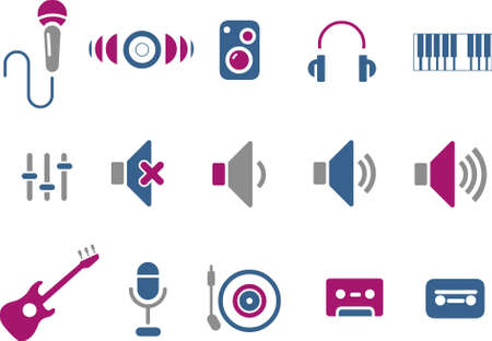 audio plug: Vector icons pack - Blue-Fuchsia Series, music collection