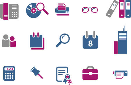 Vector icons pack - Blue-Fuchsia Series, office collection Vector