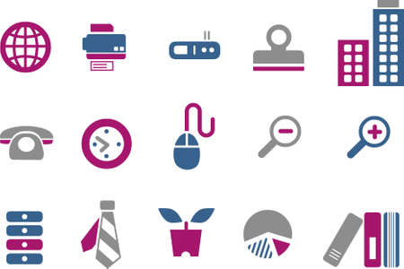 Vector icons pack - Blue-Fuchsia Series, office collection Stock Vector - 5057521