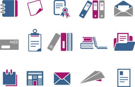 Vector icons pack - Blue-Fuchsia Series, paper collection Stock Vector - 5057535