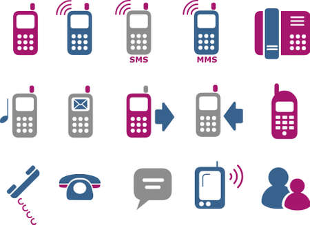 Pack de iconos vectoriales - Serie Azul-Fucsia, teléfonos colección