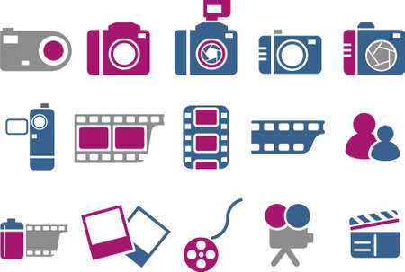 Vector icons pack - Blue-Fuchsia Series, photo collection Vector