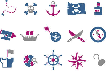 Vector icons pack - Blue-Fuchsia Series, pirate collection Illustration