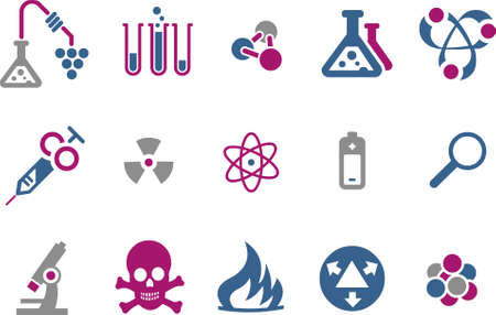 Vector icons pack - Blue-Fuchsia Series, research collection