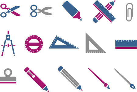 Vector icons pack - Blue-Fuchsia Series, school collection