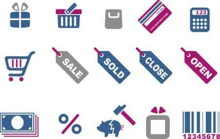 Vector icons pack - Blue-Fuchsia Series, shopping collection Vector