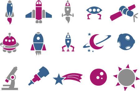 zero gravity: Vector Icone pack - serie blu-fucsia, spazio insieme