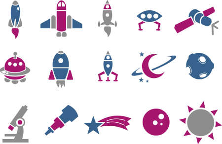 Vector icons pack - Blue-Fuchsia Series, space collection Illustration