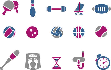 Vector icons pack - Blue-Fuchsia Series, sport collection Vector