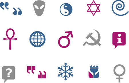 Vector icons pack - Blue-Fuchsia Series, symbols collection Vector