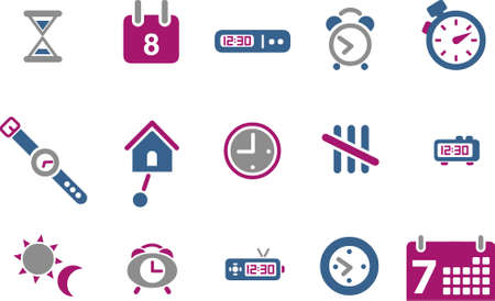Vector icons pack - Blue-Fuchsia Series, time collection Illustration