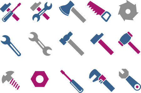 claw hammer: Vector icons pack - Blue-Fuchsia Series, tool collection