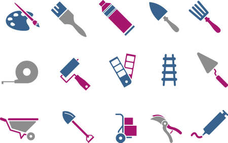 Vector icons pack - Blue-Fuchsia Series, tool collection Vector