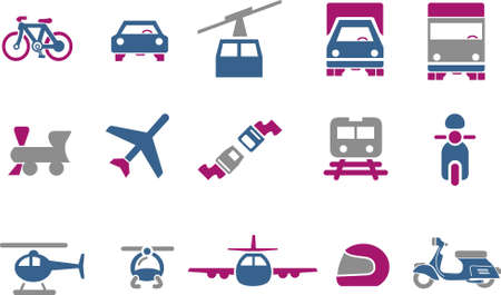 Vector icons pack - Blue-Fuchsia Series, transport collection Vector