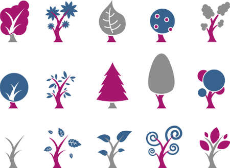 Vector icons pack - Blue-Fuchsia Series, tree collection Illustration
