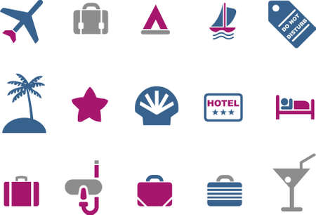 Vector icons pack - Blue-Fuchsia Series, vacation collection Vector