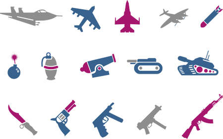 Vector icons pack - Blue-Fuchsia Series, weapons collection Vector
