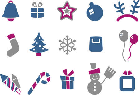Vector icons pack - Blue-Fuchsia Series, Christmas collection Stock Vector - 5057553