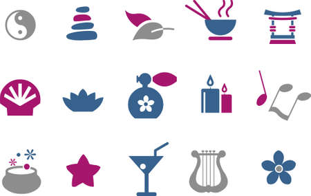 ayurveda: Vector icons pack - Blue-Fuchsia Series, zen collection