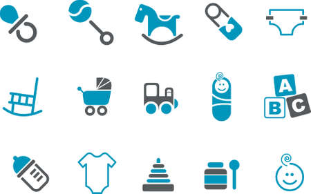 Vector icons pack - Blue Series, babies collection