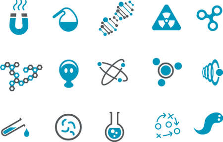 Vector icons pack - Blue Series, chemistry collection Illustration