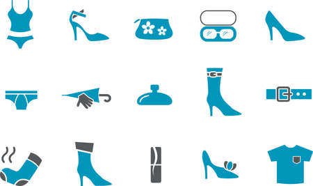 Vector icons pack - Blue Series, clothing collection Stock Vector - 5601346