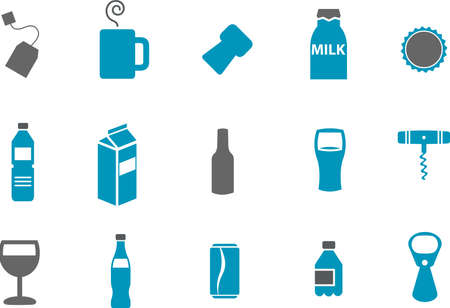 Vector icons pack - Blue Series, drinking collection