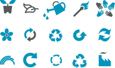 Vector icons pack - Blue Series, eco collection