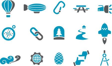 Vector pictogrammen pack - blauw Series, exploratie, collectie