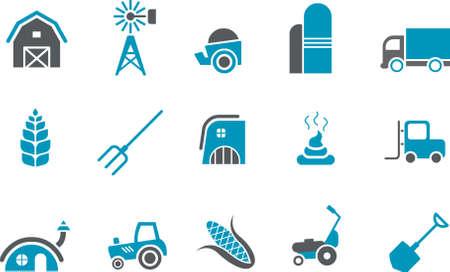 granary: Vector Icone pack - serie blu, raccolta di fattoria