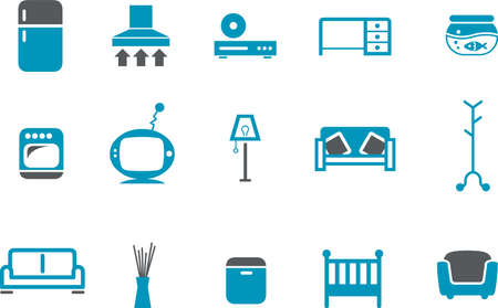 geladeira: Vector icons pack - Blue Series, furniture collection Ilustra��o