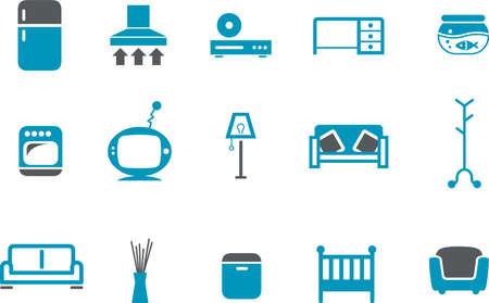 Vector Icons Pack - Blue Series, meubels collectie Vector Illustratie
