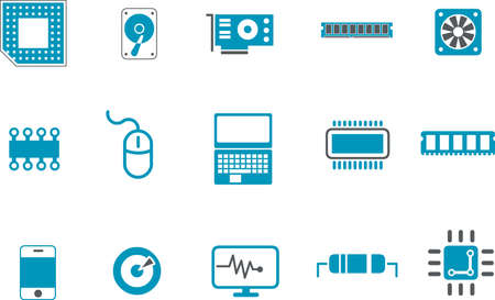 Vector icons pack - Blue Series, hardware collection Illustration
