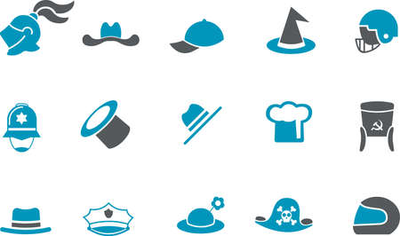 Vector icons pack - Blue Series, hat collection Vector