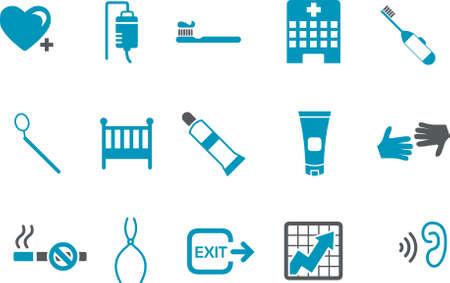 Pack de iconos de vector - serie azul, colección de salud