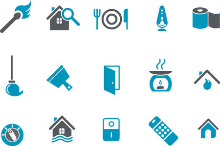 Vector icons pack - Blue Series, house collection Stock Vector - 5601382