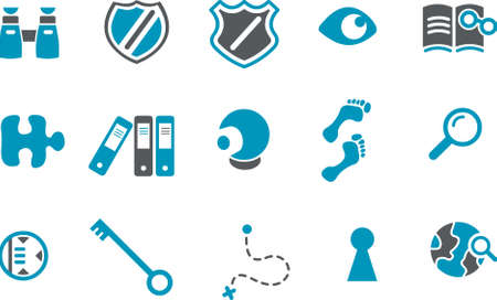 clue: Vector icons pack - Blue Series, onderzoek, collectie