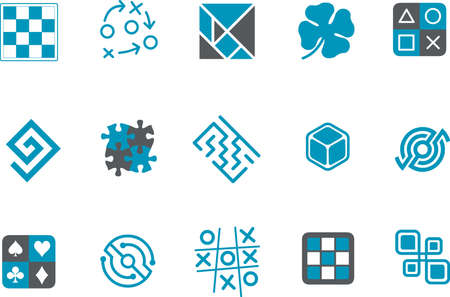 enigma: Vector icons pack - Blue Series, jigsaw collection