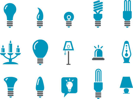 Vector icons pack - Blue Series, lamps collection