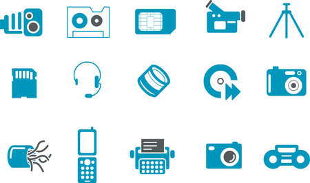 Vector icons pack - Blue Series, hi-tech collection