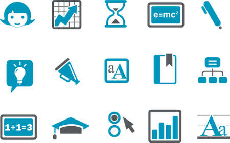 Vector icons pack - Blue Series, learning collection