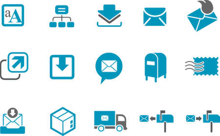postbox: Vector icons pack - Blue Series, mailing collection Illustration