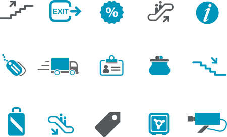 Vector icons pack - Blue Series, mall collection