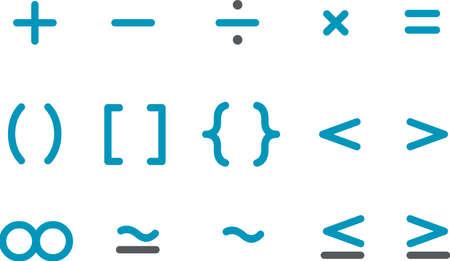Vector icons pack - Blue Series, math collection Ilustração