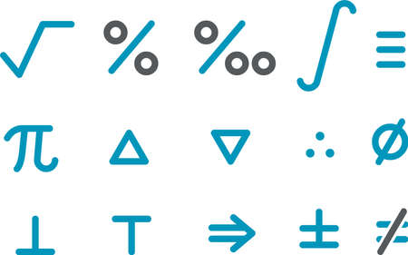 Vector icons pack - Blue Series, math collection Illustration