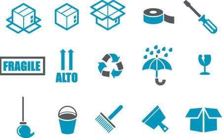 empacar: Iconos Vector pack - Serie Azul, pasando de recogida