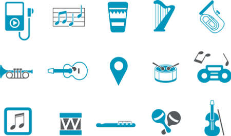 Vector icons pack - Blue Series, music collection Stock Vector - 5601357