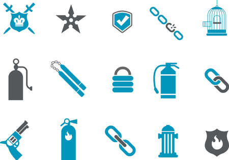Vector icons pack - Blue Series, protection collection Stock Vector - 5601405